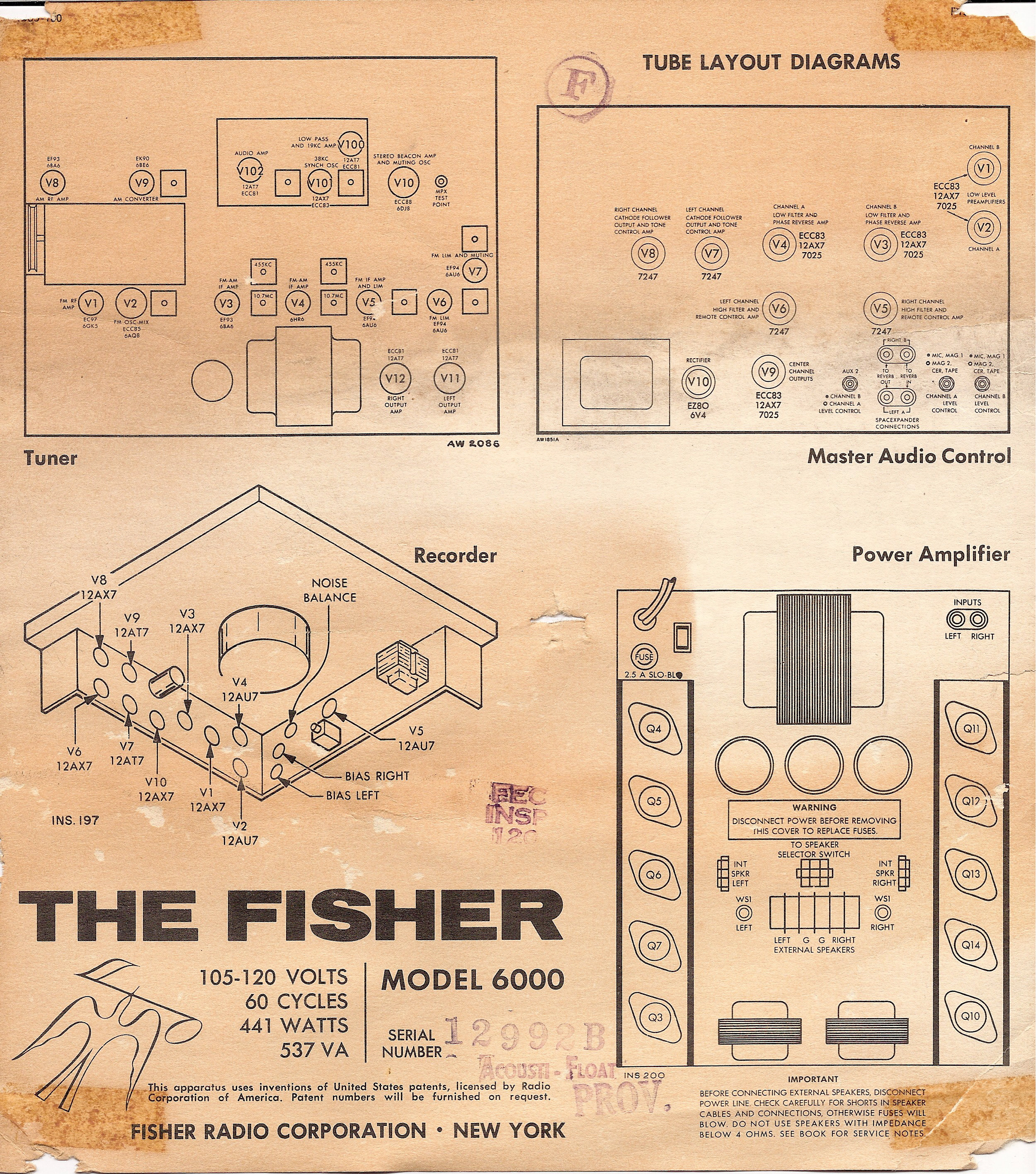 fisher regent II 6000 console label